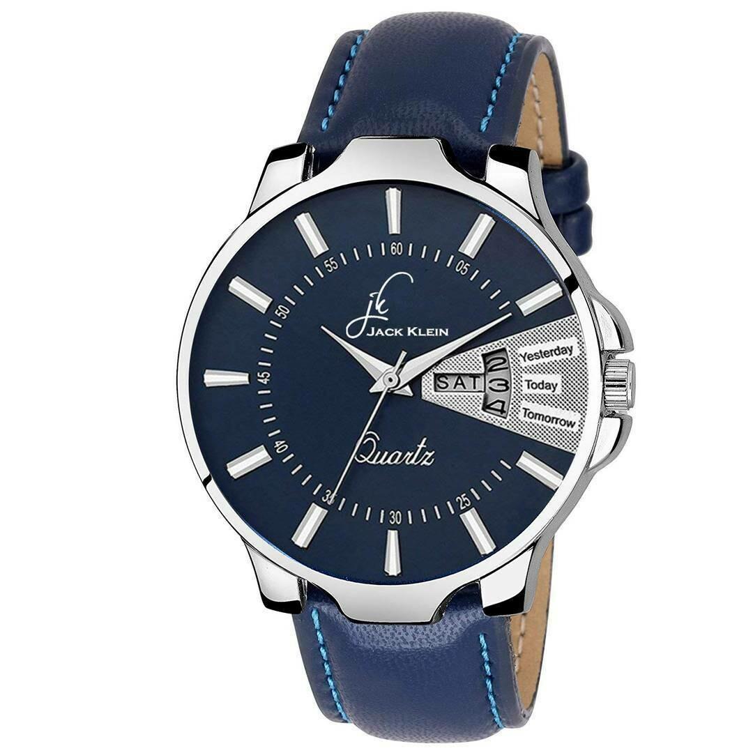 ساعت های مردانه با رنگ آبی  و  بند چرمی آبی و  با داشتن چندین کاربرد وقت, تاریخ و روز