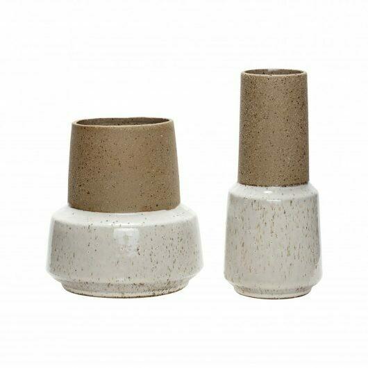 Vase sand/white, s/2