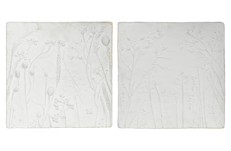 Set of 2 - plaquette wall decoration gypsum white