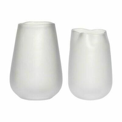 Vase, glass, white, s/2
