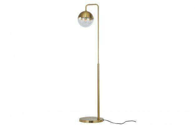 Globular floor lamp metal antique brass