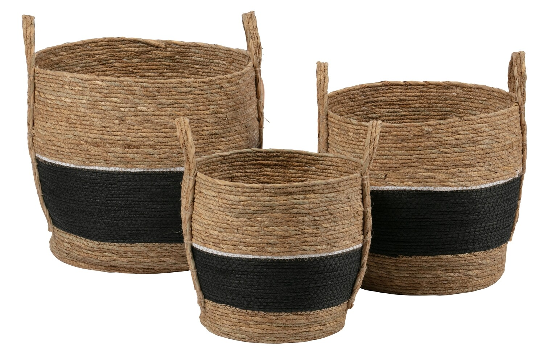 SET OF 3 - ALEXA BASKETS NATURAL/BLACK