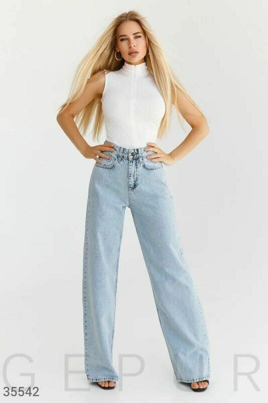 Стильные брюки из натурального денима Gepur