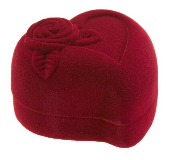 Футляр для кольца Сердце с розой бордо/бордо