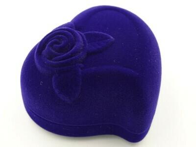 Футляр для кольца Сердце с розой синий