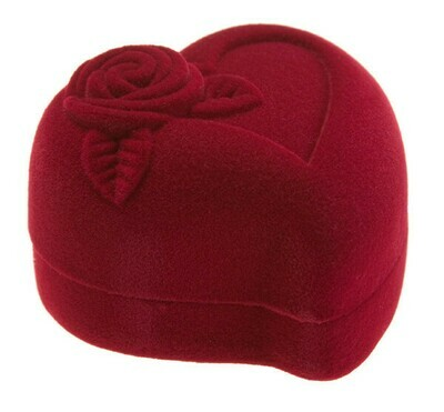 Футляр для кольца Сердце с розой бордо/белый