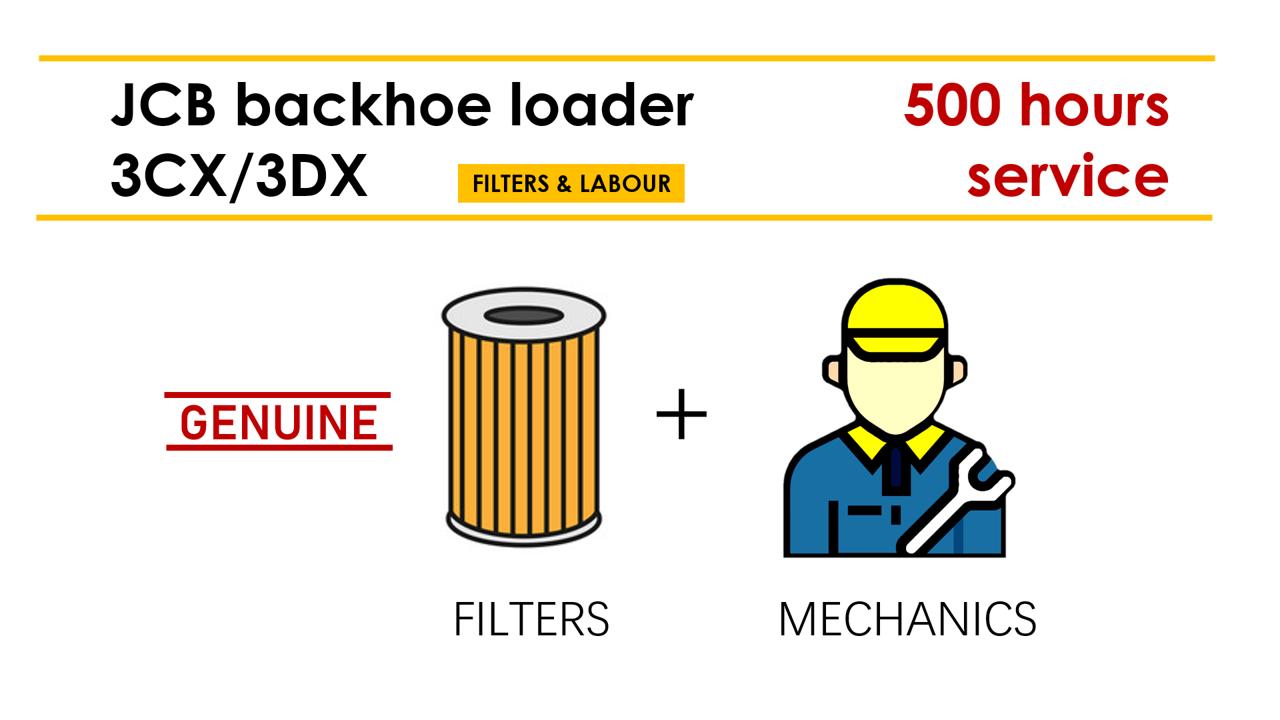 JCB 3CX/3DX 500 Hours Service Package (filters+labour)