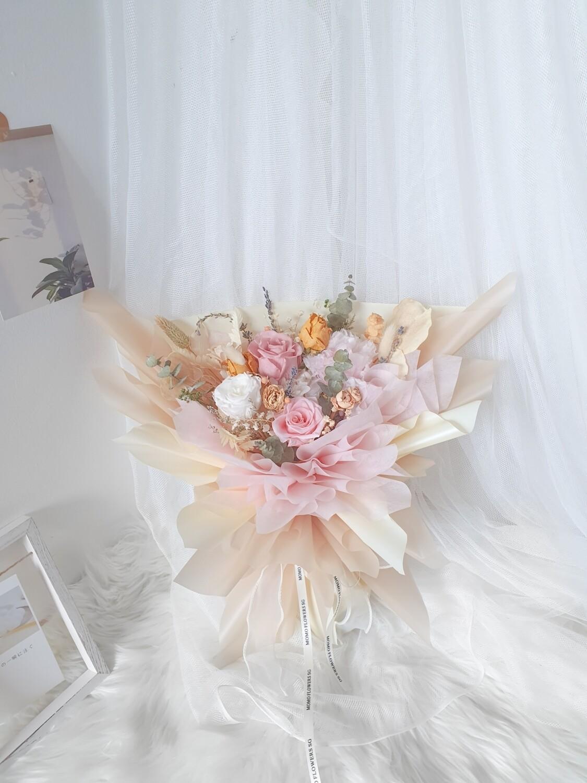 Pink Beige Preserved Eternal Rose Bouquet