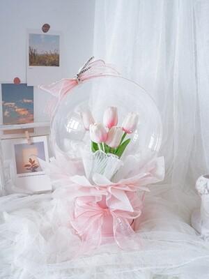 Pink Faux Tulips Bucket