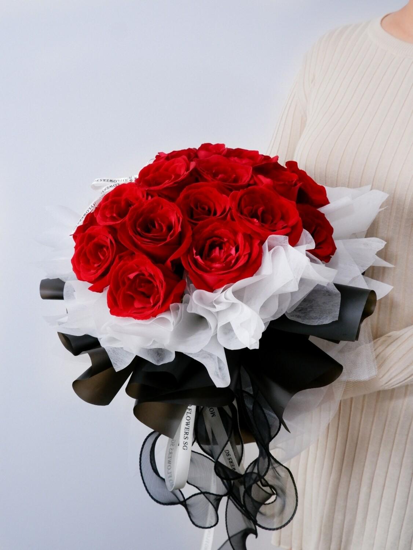 27 Stalk Fresh Red Rose Bouquet
