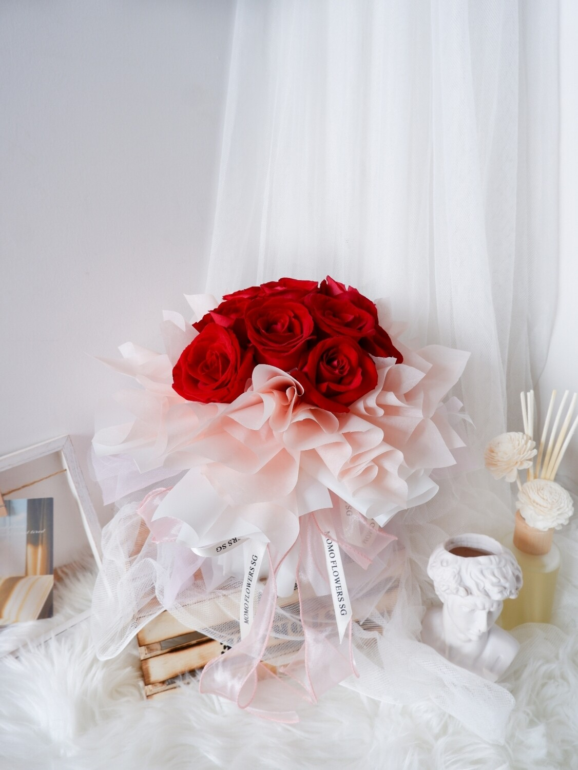 FLASH DEAL: 12 Stalk Fresh Red Rose Bouquet (Can only be delivered/collected on 21/22 Aug)