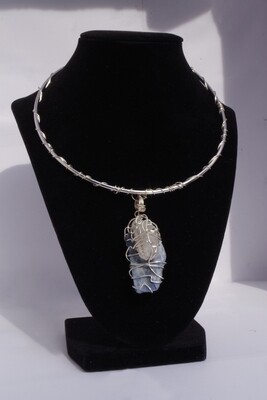 Clear Quartz + Blue Kyanite Wire Wrapped Necklace SILVER