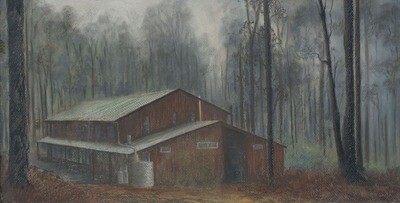 Cabin in the Mist - 40 x 80cm photographic print
