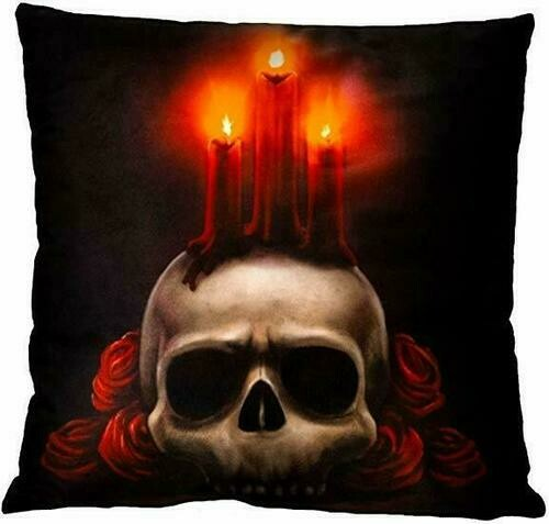 Light-Up Pillow - Skull Candle