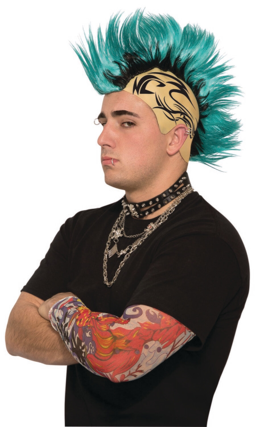 Punk Rock - Green Mohawk Tattoo Wig