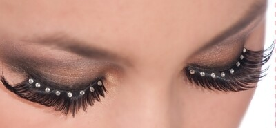 Black W/Crystal Gems Eyelashes