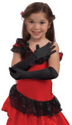 Child Opera Satin Gloves - Black
