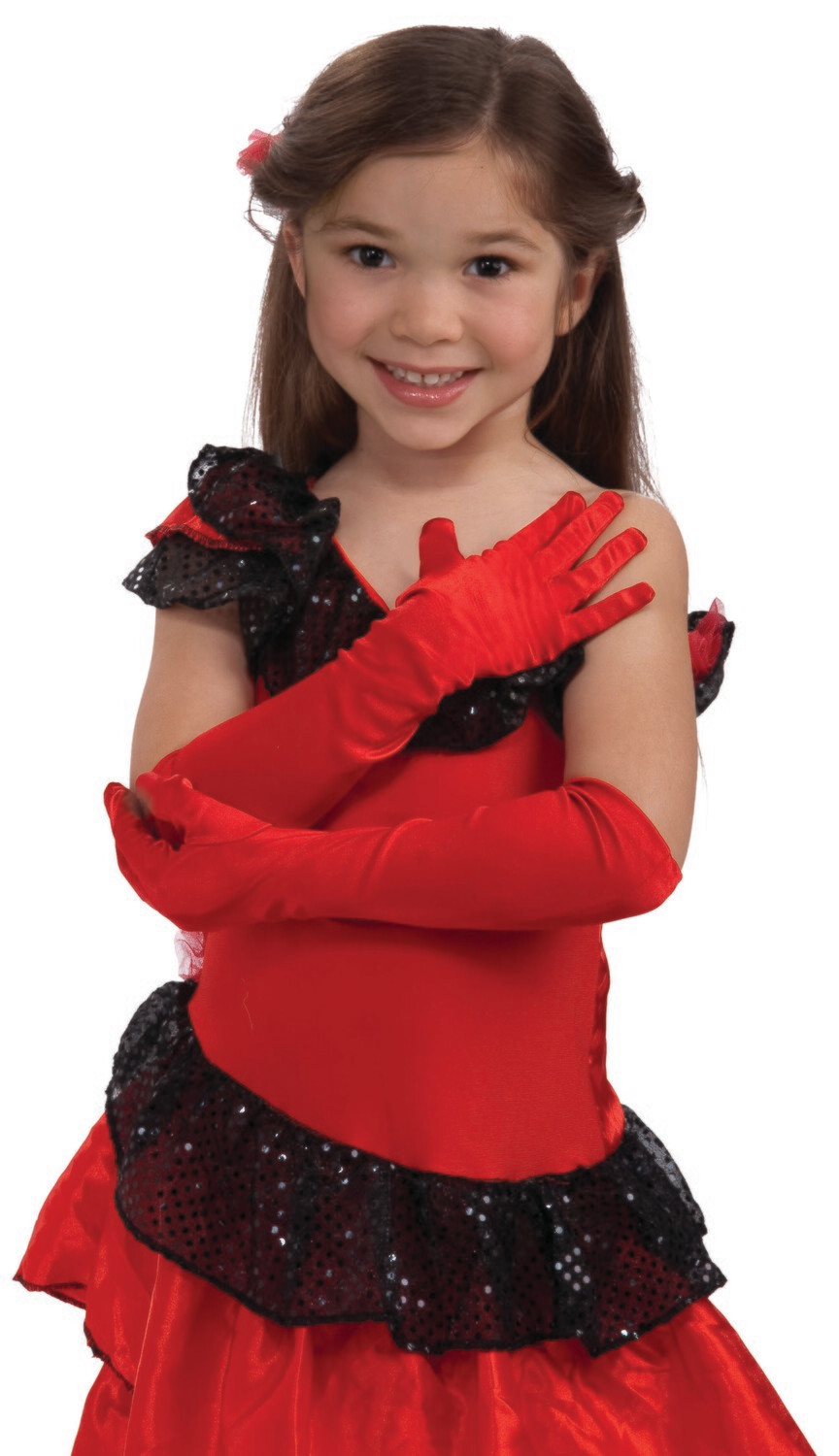 Child Opera Satin Gloves - Red