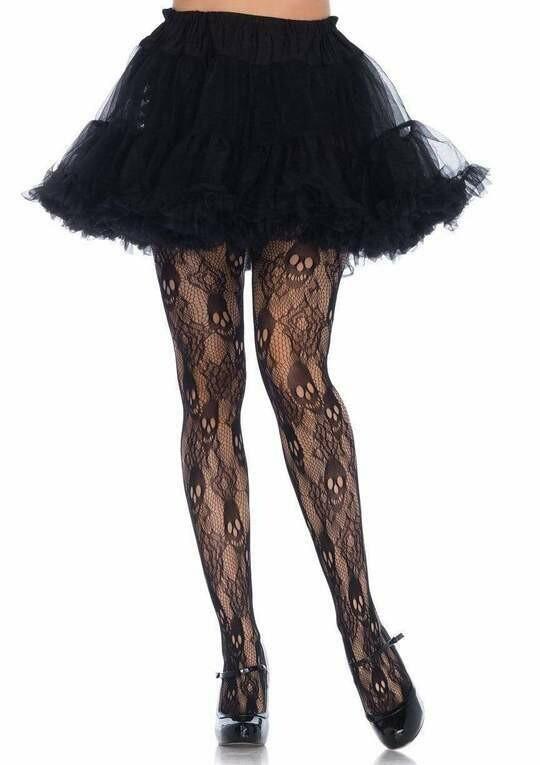 Black Rose Skull Lace Tights