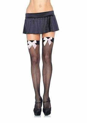 Fishnet Thigh Highs With Bow