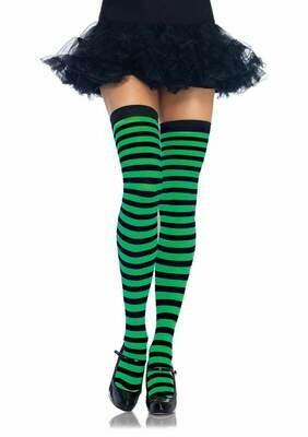 Striped Nylon Thigh Highs