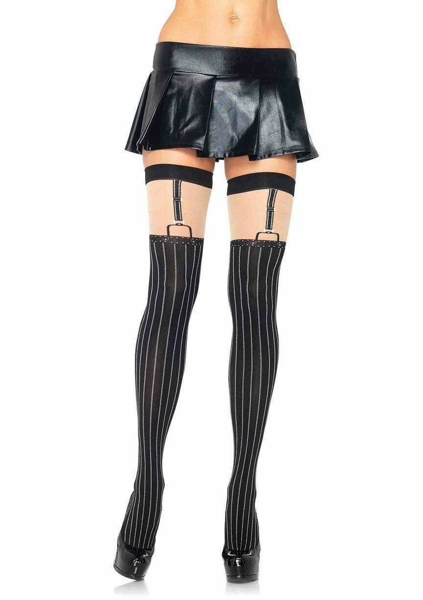Spandex Opaque Pinstripe Thigh High