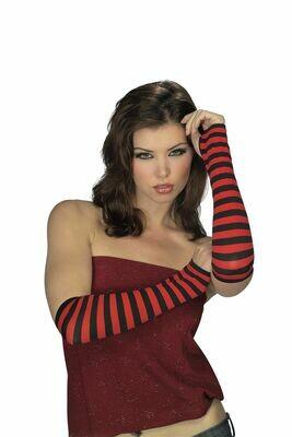 Red/Black Striped Fingerless Gloves