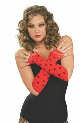 Red With Black Stars Fingerless Gloves