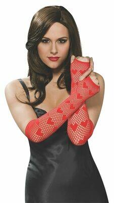 Red Fingerless Netted Gloves