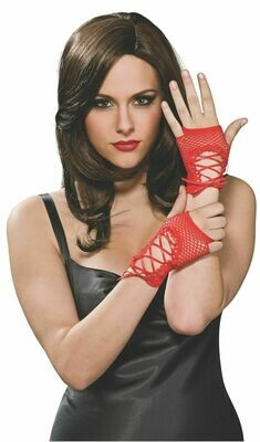 Wrist Length Lace Up Red Fingerless Gloves