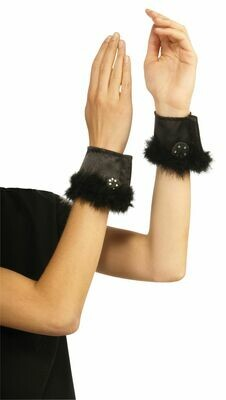 Women's Black Bunny Cuffs With Marabou Trim