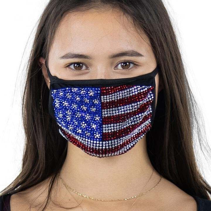 American Flag Rhinestone Face Mask