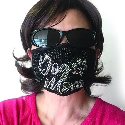 Dog Mom Rhinestone Face Mask