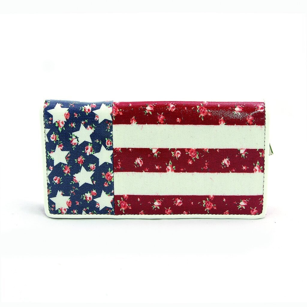 Floral American Zip Around Bi-Fold Wallet In Coated Canvas Material