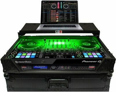 ProX LED Flight Case with 1 RU Rackspace and Wheels for Pioneer DJ DDJ-1000 (Black on Black) #PRDDJ1KWLBLD MFR #XS-DDJ1000 WLTBL LED