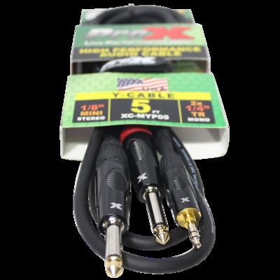 "ProX XC-MYP05 5' 1/8"" (3.5mm) Mini-TRS to Dual TS-M Unbalanced High Performance Audio Y Cable SKU: PRXXCMYP05 MFR: XC-MYP05"