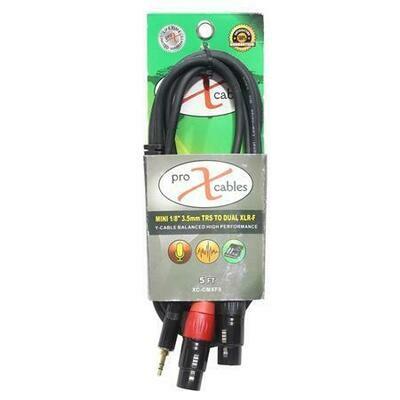 """ProX XC-CMXF5 5' 1/8"""" (3.5mm) Mini TRS-M to Dual XLR-F High Performance Audio Y Cable SKU: PRXXCCMXF5 MFR: XC-CMXF5"""
