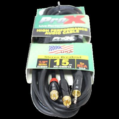 "ProX XC-CMR15 15' 1/8"" (3.5mm) TRS to Dual RCA-M High Performance Audio Cable SKU: PRXXCCMR15 MFR: XC-CMR15"