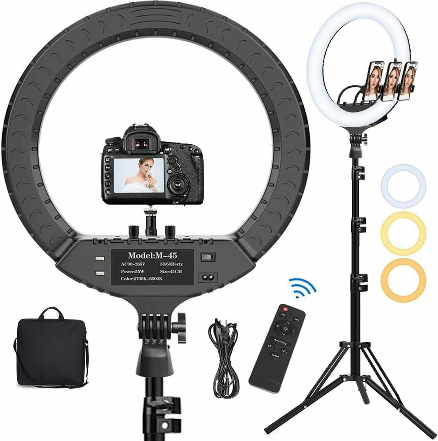 18 Inch LED Ring Light with Tripod Stand & Phone Holder, Hatynud 2700K-6500K Dimmable LED Ringlight for Photography/Camera/Makeup/YouTube Video/Live Stream, Compatible for iPhone and Android