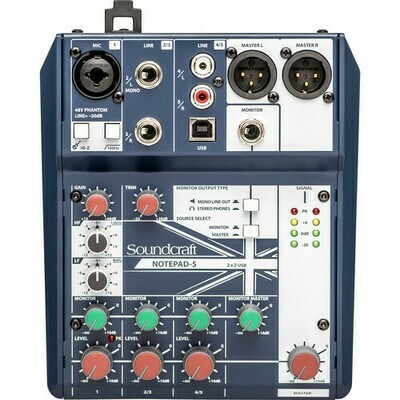 Soundcraft Notepad-5 Small-Format Analog Mixing Console with USB I/O #SO5CDTMUSBMFR #NOTEPAD-5