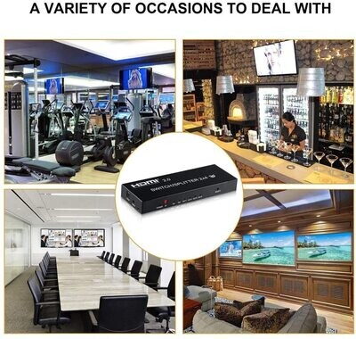4K@60Hz HDMI Audio Extractor Splitter Switcher 2 in 4 Out with Remote, MOYOON 2-Port HDMI Switch