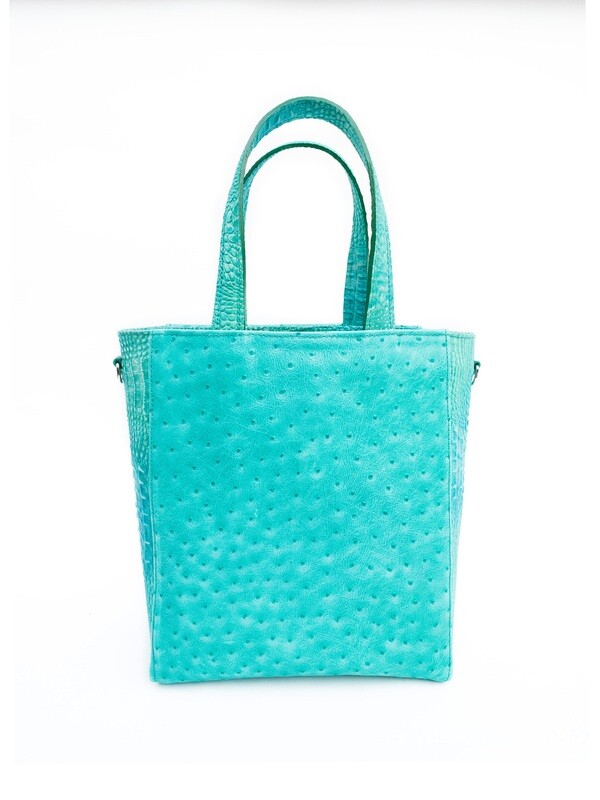 GRETA TOTE GREEN OSTRICH MIX