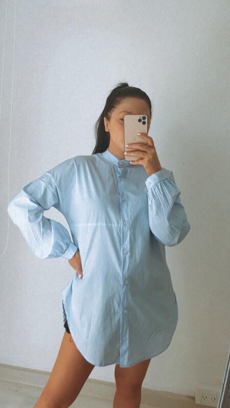 Camisa Mao celeste