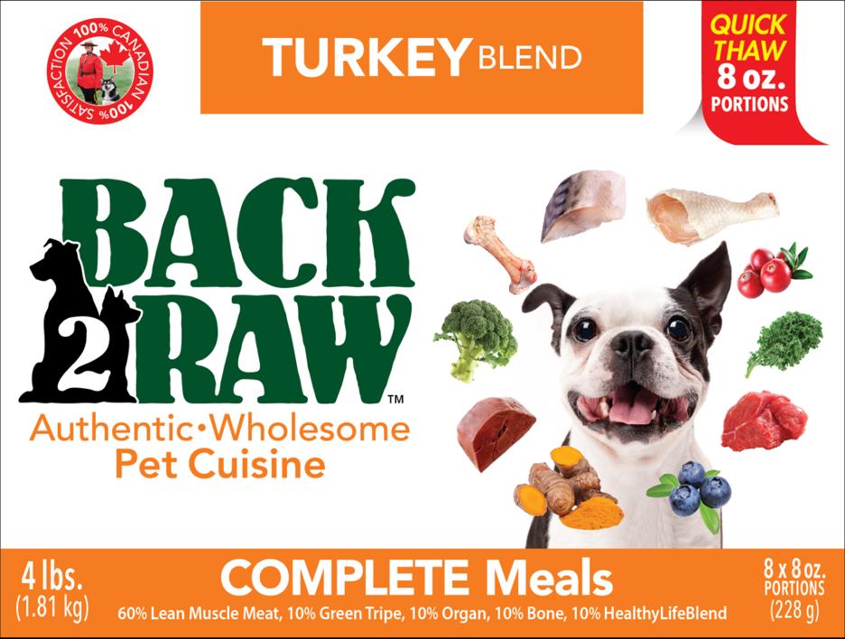 BACK 2 RAW - Complete Turkey Blend Pet Cuisine - 4 LB