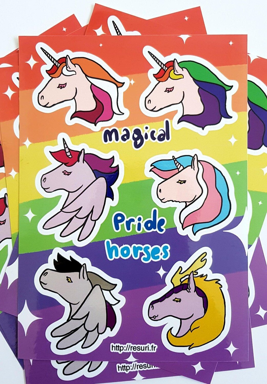 Magical Pride Horses [Planche de Stickers / Stickers sheet]