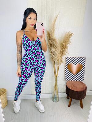 Aqua Pink Leopard Jumpsuit
