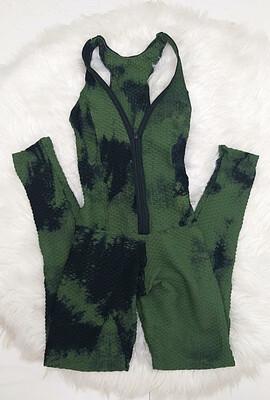 Military Green Zipper Jumpsuit