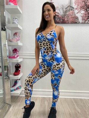 Blue Leopard Jumpsuit