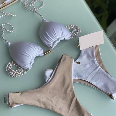 White/ Gold Reversible Bikini