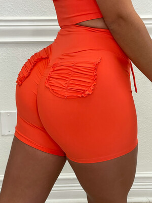 Orange Pocket Shorts